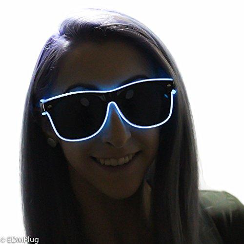 Blue EL Wire Sunglasses - Light Up Glasses - Sound - Wire El Sunglasses