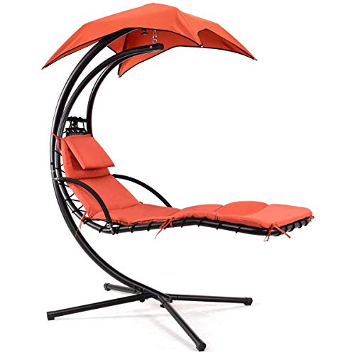Giantex Hanging Chaise Lounger Chair Arc Stand Porch Swing Hammock Chair W/Canopy Large Weight Capacity (Orange)