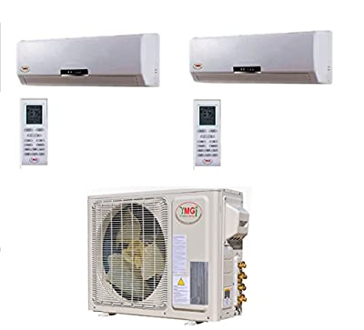 YMGI Dual Zone - 18000 BTU (9k+9k) Wall Mounted Mini Split Air Conditioner with Heat Pump for Home, Office, Apartment