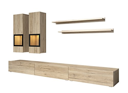 Oak Entertainment Wall Unit - Duros Entertainment Center/Contemporary Design Wall Unit/with or Without Multicolor LED Lighting System (Sonoma Oak)