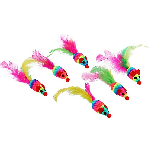 abobo Cat Toys - Rainbow Rattle rope balls/Mouse with Feather Tail for Pets/Cat/Kitten– 8 Pcs+1 Gift by abobo (Image #3)