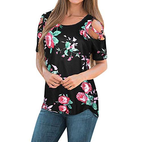 CUCUHAM Women Printed Crop Top Short Sleeve Tank Top T-Shirt Blouse(Z1-Black,S)