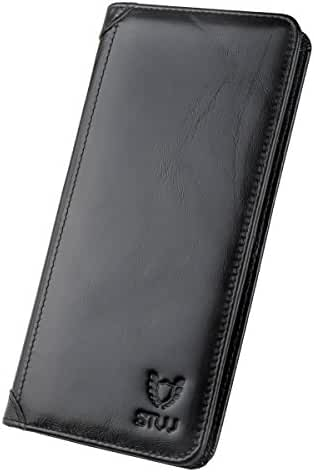 STW-Men's long-folded business wallet and extra large-capacity leather wallet, with zipper, available to put nickel, outstanding collective strength