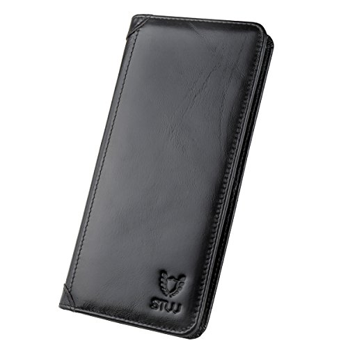 Black Leather Long Wallet (STW-Men's long-folded business wallet and extra large-capacity leather wallet, with zipper, available to put nickel, outstanding collective strength (Black))