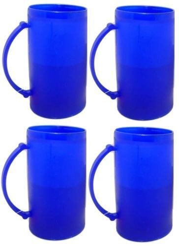 4 Double Wall Freezer Frosty Mugs 16 oz Cold Beer Stein Chilled Frozen Drink ()