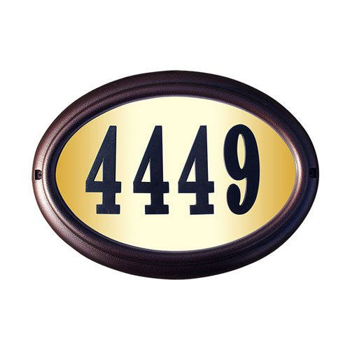 Qualarc LTO-1302AC-PN Edgewood Oval Lighted Address Plaque in Antique Copper Frame Color with 4-Inch Black Polymer Numbers by Qualarc (Image #1)