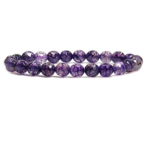 Purple Agate Gem Semi Precious Gemstone 8mm Ball Beads Stretch Bracelet 7