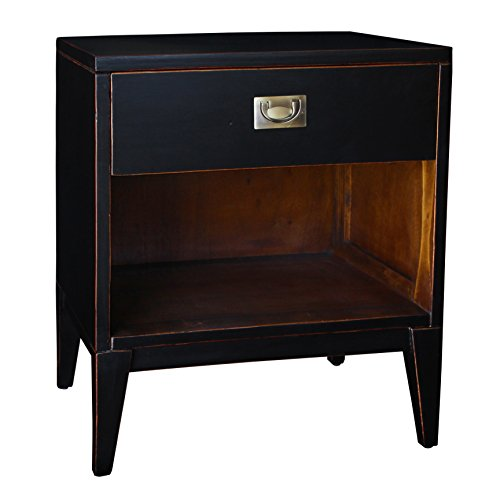 Antique Black Lacquer - Porthos Home Antique Revival Petra Lacquer Nightstand, Black