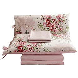 FADFAY Rose Floral 4 Piece Bed Sheet Set 100% Cotton Deep Pocket-Twin