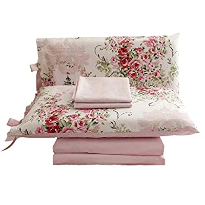 "FADFAY Shabby Floral Bedding Set Queen Size Sheet Set 4 Piece Premium 100% Cotton Pink Rose Pattern :1 Deep Pocket Fitted Sheet, 1Flat Sheet, 2 Pillowcases (Standard Size) - Queen size shabby rose print 4pc bed sheet set-1 ruffled flat sheet:98""x98"",1 fitted sheet:60""x80""+15.5''(W*L*H), 2 pillowcases 20""x29"".DEEP POCKET fitted sheet with elastic all around (not just the corners, like other sheets!) Material:100% COTTON, soft and comfortable. Machine washable and machine dryable. Reactive dyeing,do not fade. Fade-resistant, and durable. It's time to say goodbye for ever to the polyester bedding and sheets! just enjoy this 100% COTTON sheet set. It's a great gift idea for women friends, girls, Moms, Valentine's - Mother's - Day and Christmas. - sheet-sets, bedroom-sheets-comforters, bedroom - 41A5h1SfcWL. SS400  -"
