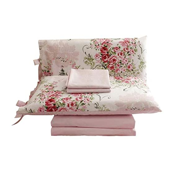 "FADFAY Rose Floral 4 Piece Bed Sheet Set 100% Cotton Deep Pocket-Queen - Queen size shabby rose print 4pc bed sheet set-1 ruffled flat sheet:98""x98"",1 fitted sheet:60""x80""+15.5''(W*L*H), 2 pillowcases 20""x29"".DEEP POCKET fitted sheet with elastic all around (not just the corners, like other sheets!) Material:100% COTTON, soft and comfortable. Machine washable and machine dryable. Reactive dyeing,do not fade. Fade-resistant, and durable. It's time to say goodbye for ever to the polyester bedding and sheets! just enjoy this 100% COTTON sheet set. It's a great gift idea for women friends, girls, Moms, Valentine's - Mother's - Day and Christmas. - sheet-sets, bedroom-sheets-comforters, bedroom - 41A5h1SfcWL. SS570  -"