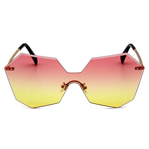 AN Lunettes de soleil femmes irrégulières de style rétro rond lunettes de rue,C,Taille unique