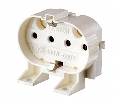 Leviton 13455 2G11 Base, 4-Pin, Twin Tube Fluorescent Lampholder, White