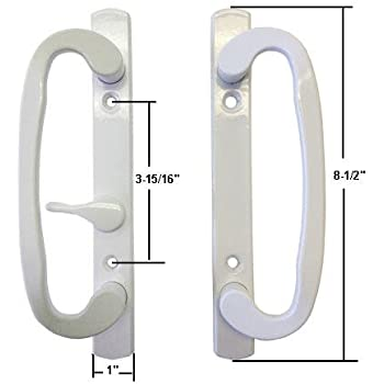 Marvelous Sliding Glass Patio Door Handle Set, Mortise Type, White, 3 15/