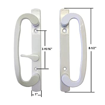 Sliding Glass Patio Door Handle Set, Mortise Type, White, 3 15/