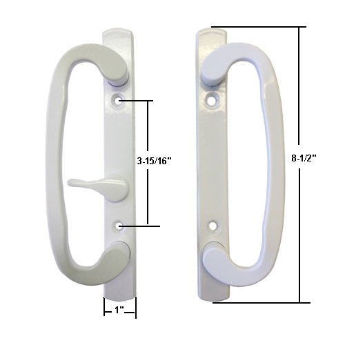 Sliding Glass Patio Door Handle Set, Mortise Type, White, 3-15/16