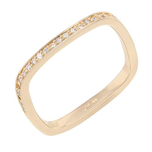 18K or rose & environ. 0,27Ct Diamants Mariage bande Taille (7,25)