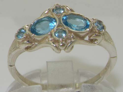 925 Sterling Silver Real Genuine Blue Topaz Womens Band Ring