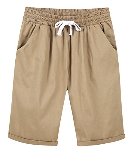 Chartou Women's Casual Elastic Waist Knee-Length Curling Bermuda Shorts (Medium, - Shorts Khaki : Women Pleated