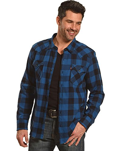 Levi's Men's Lassen Buffalo Plaid Button Down Shirt Blue XX-Large