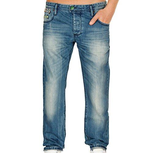 Cipo & Baxx Herren Green Like Me Slim Fit Jeans Pant Hose Denim blau W36 L32
