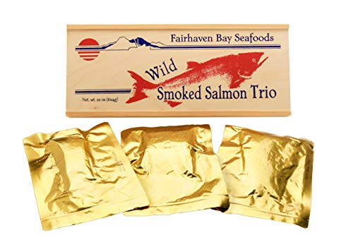 Smoked Salmon Jerky - Smoked Salmon Trio, 22 Oz in Wood Legacy Gift Box