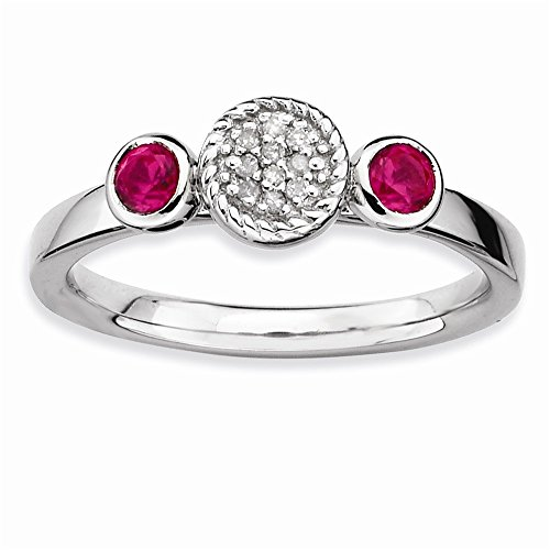 Sterling Silver Stackable Expressions Dbl Round Cr. Ruby and Dia. Ring Size 8