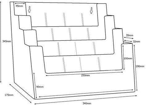 Porta Depliant Din A4// A5// Din lungo Vierstufig Espositore Brochure Versione Supporto-Volantini Acrilico Trasparente Porta Depliant
