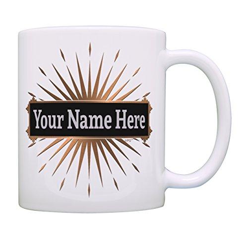 Custom Name Mug Personalized Name Mug Gold Starburst Personalized Gift Coffee Mug Tea Cup White ()