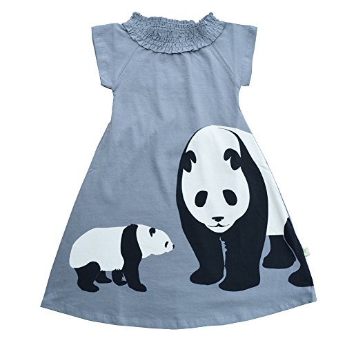 [Wee Urban Girls Fashion, Organic Cotton, Short Sleeve, Grey Panda, Sundress, Party Dress, Size 5/6] (Animal Outfits For Toddlers)