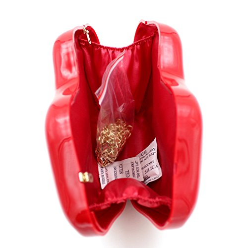 Shoulder 3d Red Acrylic Party Red Purse Women's Sexy Clutch Evening Handbag Lip Crossbody qwnxZ0S