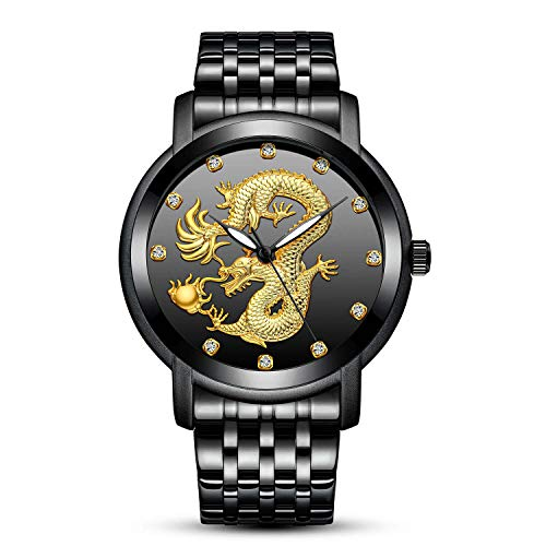 - Men's Black Watches Golden Dragon Wrist Watch Mens 30M Waterproof Full Steel Sports Quartz Watches for Men Box