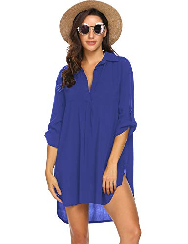 Ekouaer Women's Beach Cover Ups Swimsuit Cotton Beachwear Bikini Swimwear V-Neck Skirt Bathing Suit Cover Up