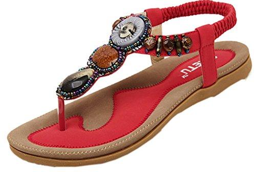 V-SOL Shoes Zapatos Sandalias Para Mujer De Vestir Verano Rojo