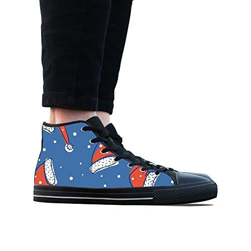 Sneakers, Custom Cartoon Christmas Hat Hoge Top Canvas Schoenen Klassieke Casual Mode Kleurrijke Vrouw Zwart