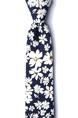 Men's Hipster Bold Romeny Floral Flowers Cotton Skinny Narrow Tie Necktie (Navy Blue) (Paisley Wedding Invitations)