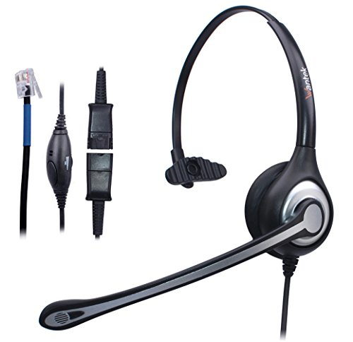 Wantek Corded Telephone RJ Headset Monaural with Noise Canceling Mic + Quick Disconnect for Call Center Telephone Systems with Plantronics M10 M12 M22 Amplifiers or Cisco 7942 Office IP Phones(600QC1)