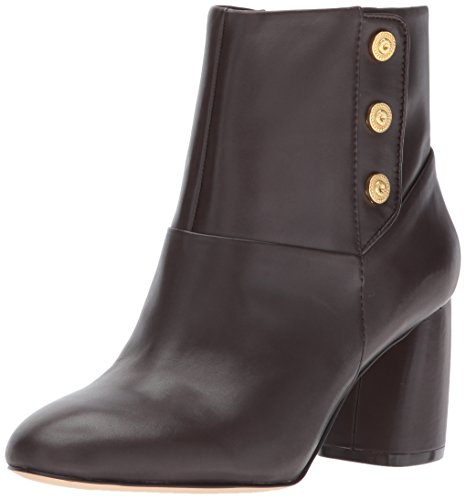 Nine West Women's KIRTLEY Leather Ankle Boot, Dark Brown, 8.5 Medium US