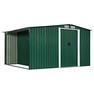 vidaXL Metal Shed with Side Store
