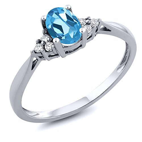 - Gem Stone King 14K White Gold Swiss Blue Topaz and Diamond Women's Ring 0.56 cttw (Size 7)