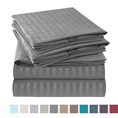 Charcoal Gray Stripe (Nestl Bedding Bed Sheet Set - Damask Stripes - Soft Brushed Microfiber - 2 Extra Pillowcases 6 Piece Queen Size, Charcoal Gray)