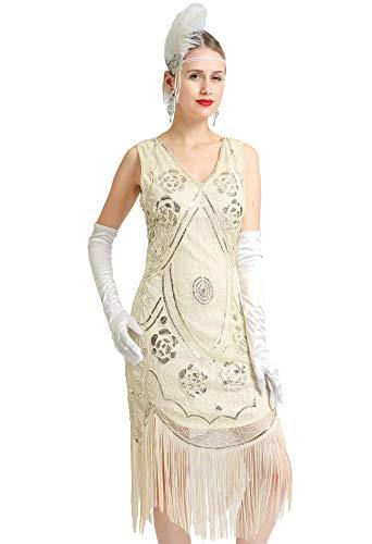 Women's 1920s Great Gatsby Costume Inspired Sequin Fringe Flapper Dress Sleeveless (Beige, -