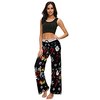 NEWCOSPLAY Women's Comfy Stretch Floral Print High Waist Drawstring Palazzo Wide Leg Pants at Women's Clothing store