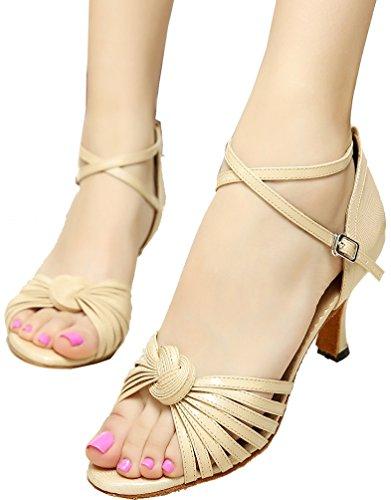 Abby Q-6197 Donna Latino Tango Cha-cha Sala Da Ballo Tacco Personalizzato Peep-toe Pu Dance-scarpe Grigio