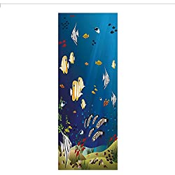 3D Decorative Film Privacy Window Film No Glue,Aquarium,Many Different Fishes at The Bottom of The Ocean Deep Water Sealife Cartoon Nature,Multicolor,for Home&Office