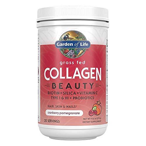 Garden of Life Grass Fed Collagen Beauty - Cranberry Pomegranate, 20 Servings, Collagen Powder for Women Men Hair Skin Nails, Collagen Peptides Powder, Collagen Protein Hydrolyzed Collagen Supplement