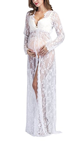 Yomoko Women Sexy Deep VNeck Lace Maternity Photography Maxi Dress