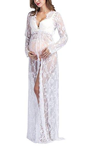 Yomoko Women Sexy Deep V-Neck Lace Maternity Photography Maxi Dress