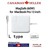 "Kanadian Replacement Macbook Charger 60w Magsafe L Tip Power Adapter Charger For Macbook Pro 13 ""A1278 A1181 A1184 A1330 A1344 A1342 - (For Macbook Released before Mid 2012) - Enjoy Fast, Free Two-Day Shipping‎ with Fulfilment by Amazon and Amazon Prime"