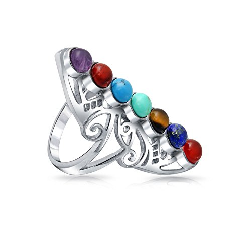 Multi Filigree Stone (925 Sterling Silver Filigree Natural Gemstone Cocktail Ring)
